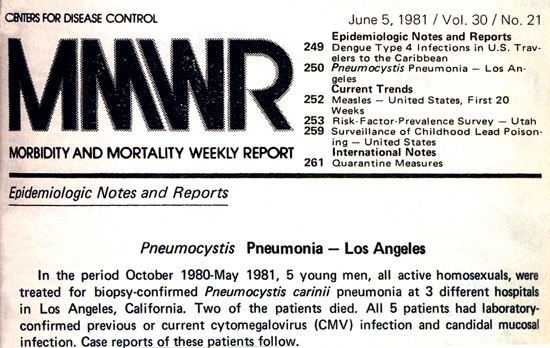 A 1981 CDC report details the first five cases of what would later be known as AIDS