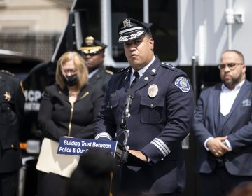 Chief Gabriel Rodriguez speaks at the Camden County Police Department in Camden, N.J. on Tuesday, June 1, 2021. Beginning today, June 1, every uniformed patrol officer in New Jersey is required to wear a body camera. (POOL Photo: Monica Herndon / The Philadelphia Inquirer)