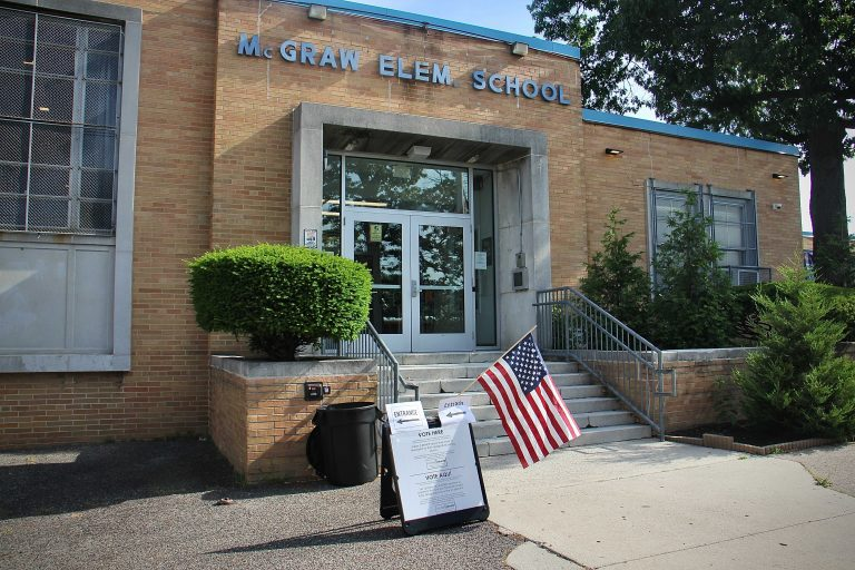 The exterior of the polling place at McGraw Elementary School