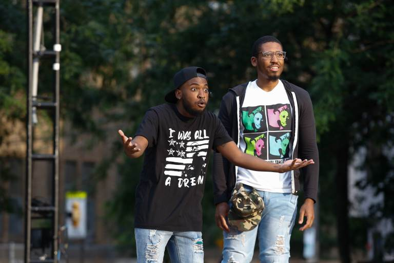 'Pass Over' (L to R) Jared Chichester (Moses) and Davon Johnson (Kitch). (Theatre Exile/Theatre in the X)