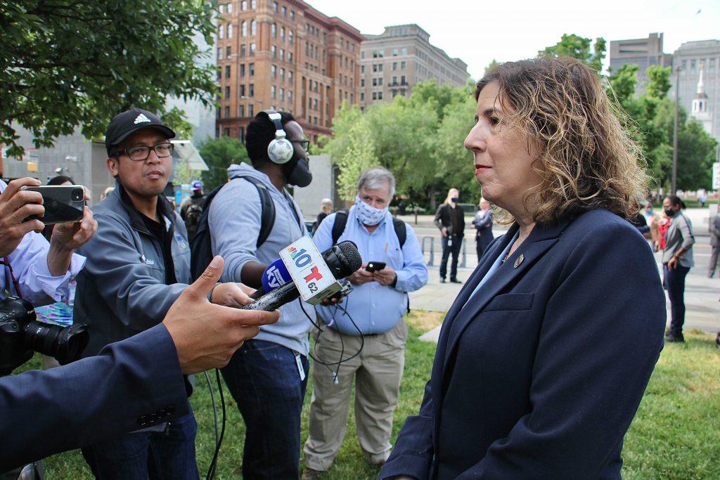 SEPTA General Manager Leslie Richards speaks to reporters