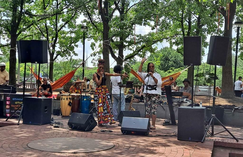 Shekhinah B. and Michelle Ray perform at Spruce Street Harbor Park