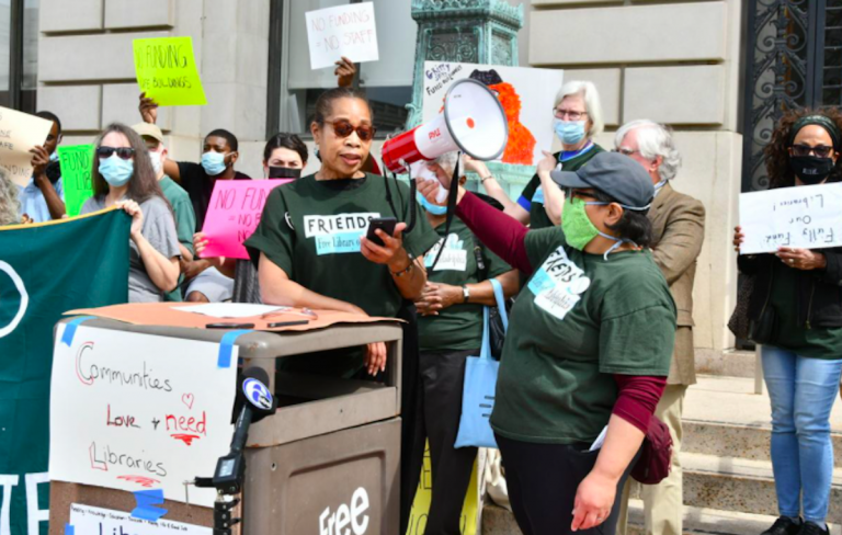 Yvetta Hill-Robinson, of the Friends of Overbrook Park Library, joined other library backers Wednesday demanding that City Council restore and increase Free Library of Philadelphia funding. (Abdul R. Sulayman / The Philadelphia Tribune)
