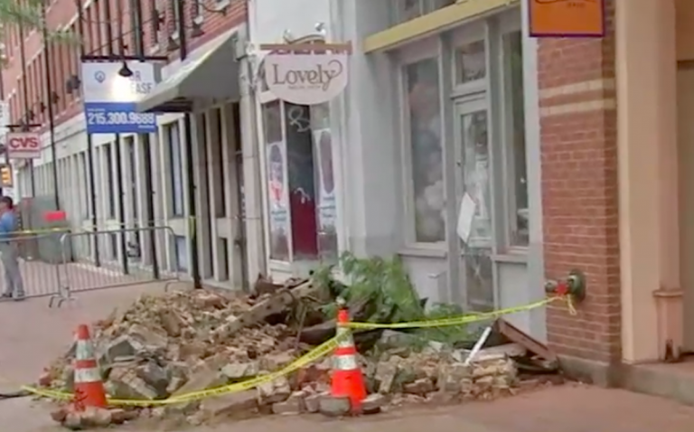 A building in Old City partially collapsed Friday morning. (6ABC)