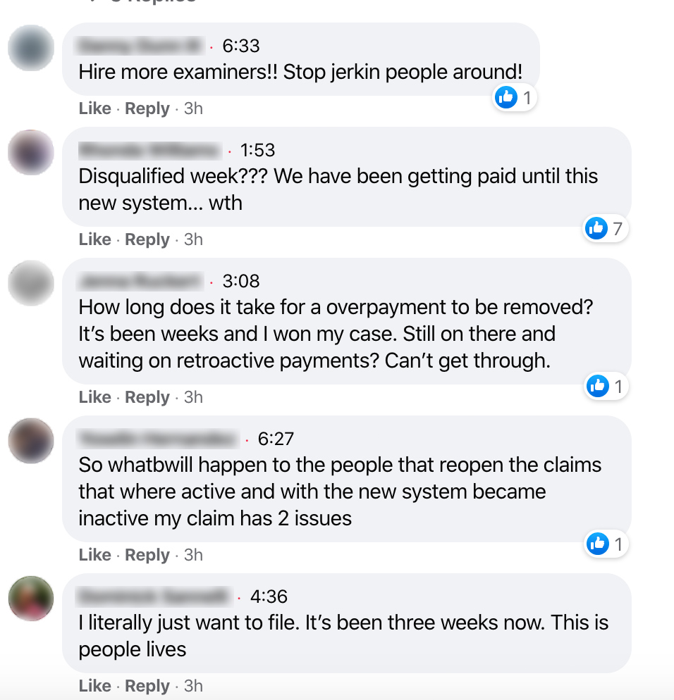 Screenshot of comments on Facebook: