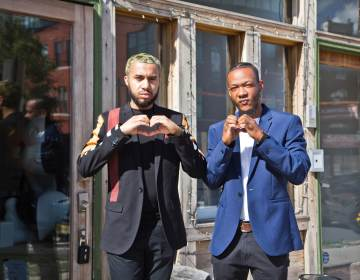 Co-founders Jay Ortiz (left) and Darnell Schoolfield (right) outside Art From the Heart Gallery in Philadelphia's Brewerytown neighborhood. (Kimberly Paynter/WHYY)