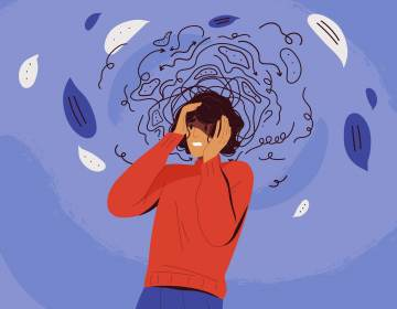 Frustrated woman with nervous problem feel anxiety and confusion of thoughts illustration