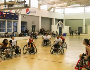Players participate in the 19th annual Katie Kirlin Junior Wheelchair Basketball Tournament