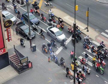 A group of dirt bike riders on North Broad Street in May 2020 (Mark Henninger / Imagic Digital)
