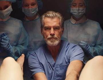 Pierce Brosnan playing a doctor in False Positive