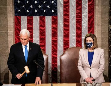 Then-Vice President Mike Pence and House Speaker Nancy Pelosi preside over a joint session of Congress