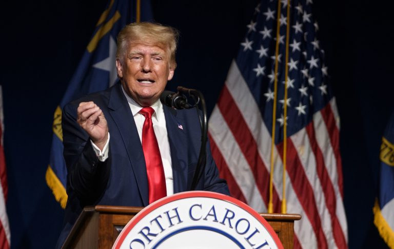 Former President Donald Trump is seen here addressing the NCGOP convention on June 5. (Melissa Sue Gerrits/Getty Images)