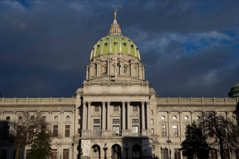 The exterior of the Pennsylvania Capitol Building.