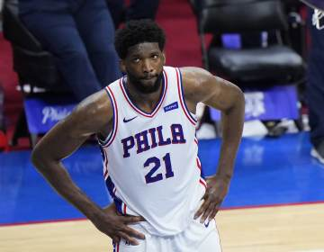 Joel Embiid reacts in the final minute of Game 7