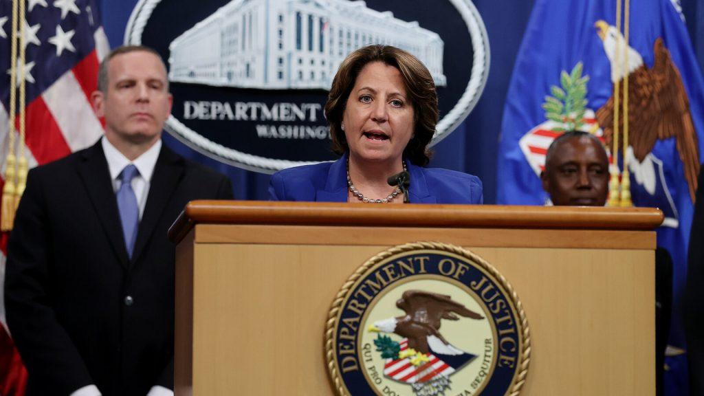 Deputy U.S. Attorney General Lisa Monaco speaks from a podium