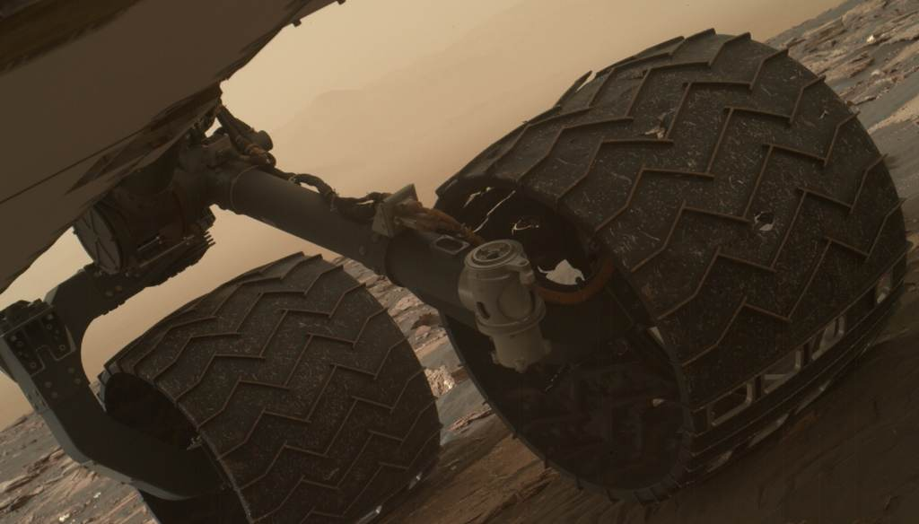 Two of the raised treads on the left middle wheel of NASA's Curiosity Mars rover broke early in 2017. Photo courtesy of NASA/JPL-Caltech/MSSS