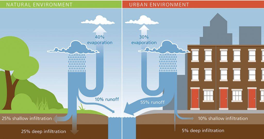 An illustration of natural vs. urban runoff.
