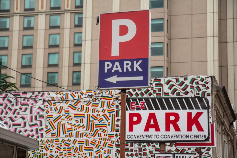 A parking lot at Juniper and Race streets in Center City.