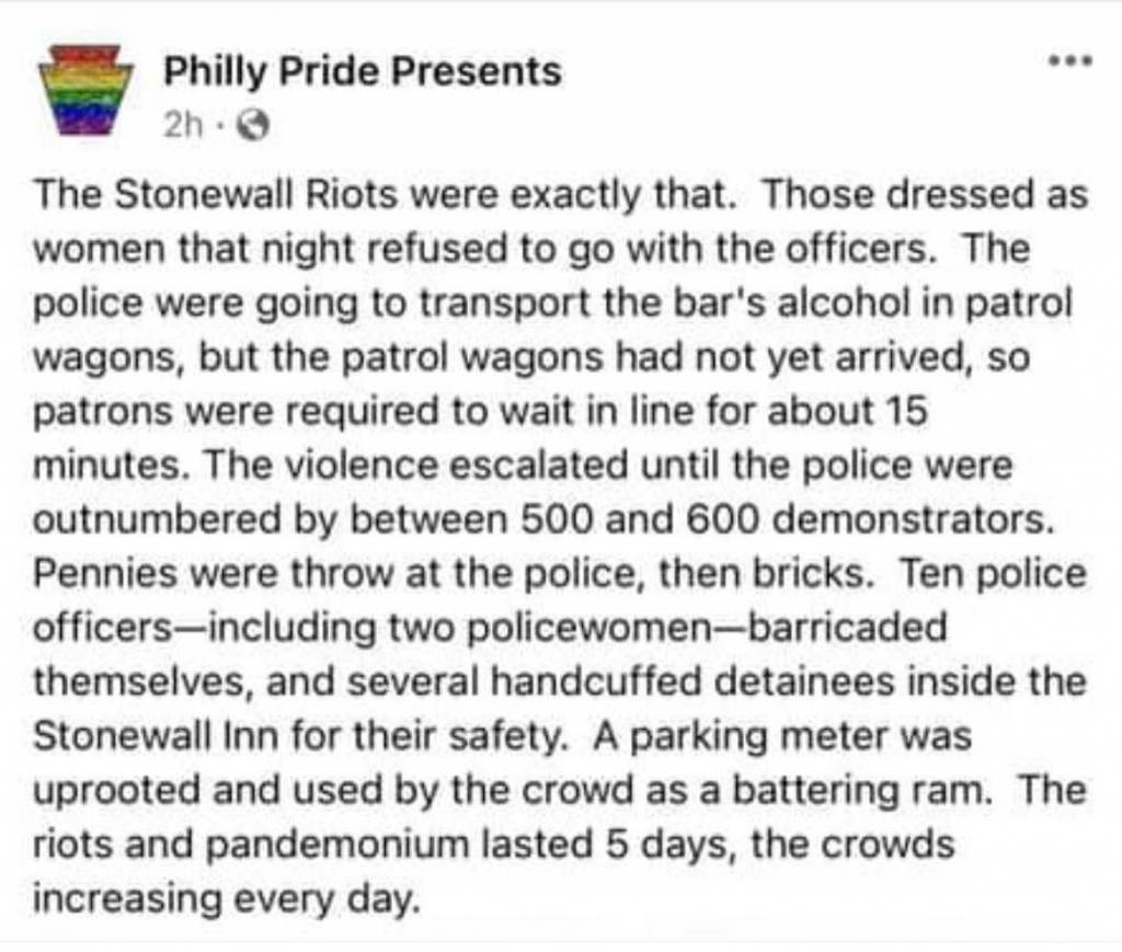A screenshot of a now deleted Philly Pride Presents Facebook post about the 1969 Stonewall Riots