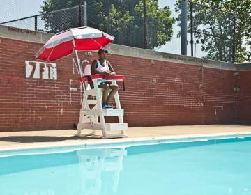 Breana Cooper on watch from the lifeguard stand