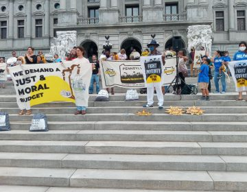 Members of the Poor People's Campaign in Pennsylvania gathered on the steps of the Capitol with signs calling for a