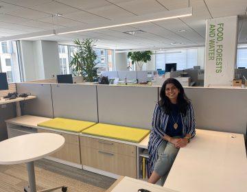 Renuka Iyer sits in an empty office