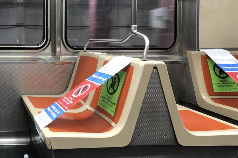Social distancing signage on SEPTA. (Billy Penn / WHYY)