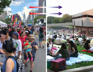 On the left, an image from Wawa Welcome America on the Parkway; On the right, a concert at the Mann