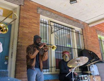 A band performs on a West Philly porch