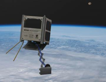 WISA Woodsat, seen in an artist's rendering, is billed as the world's first wooden satellite. It's set to be launched from New Zealand before the end of the year. Arctic Astronautics/ESA