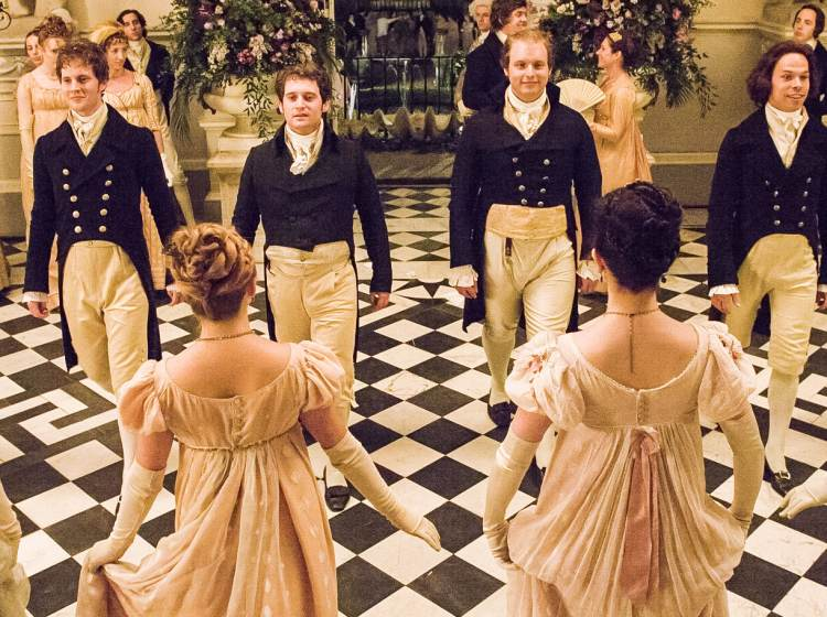 People dancing in a ballroom in Sense and Sensibility