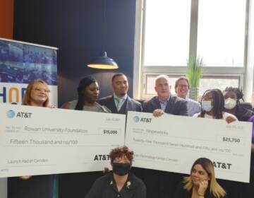 Two groups from Camden county receive money from ATT. (Tom MacDonald / WHYY)