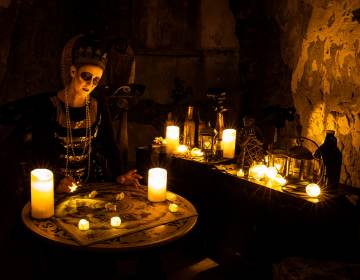 A fortune teller in The Speakeasy at Al Capone's cell at Eastern State Penitentiary for its upcoming Halloween Nights festival. (Courtesy of ESP)