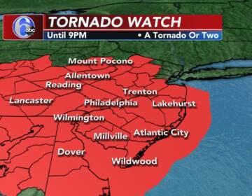 A Tornado Watch weather map