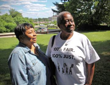 Paula Paul (left) and Frances Upshaw stand in Fernhill Park