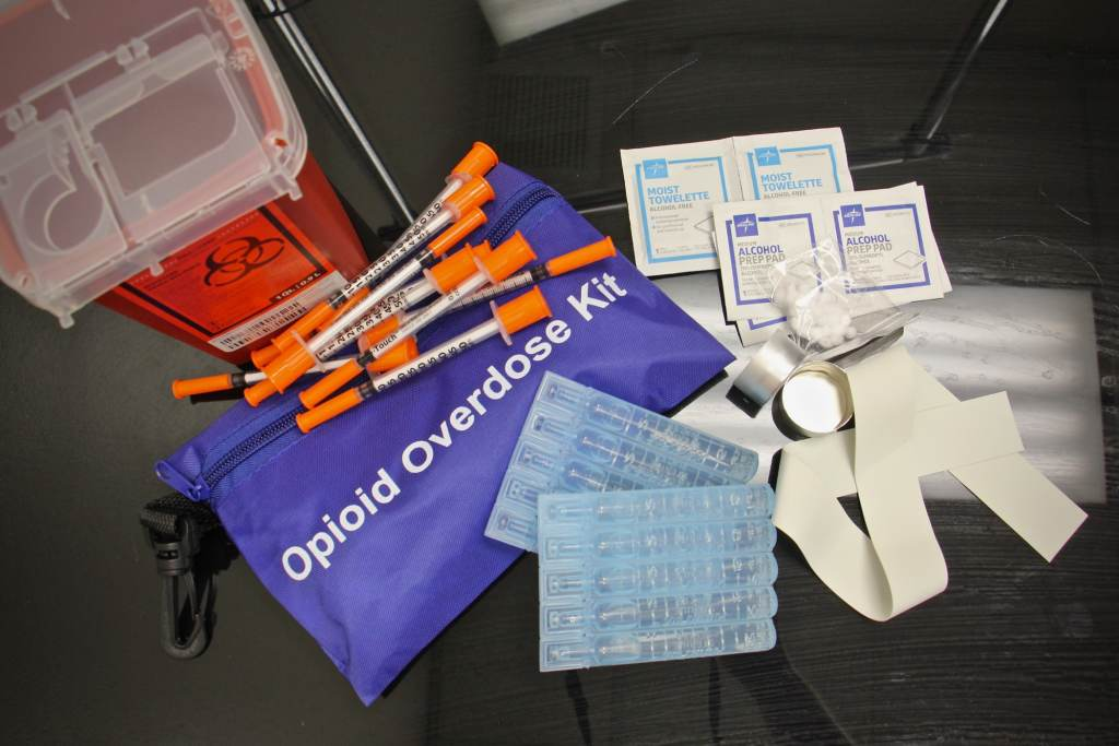 A kit includes clean needles, sterile water, and more