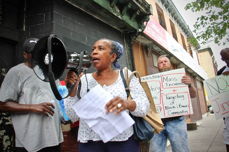 Patricia Vickers, whose son was sentenced to life in prison when he was 17, speaks out against mandatory minimum sentences, such as those proposed by state Rep. Amen Brown. (Emma Lee/WHYY)