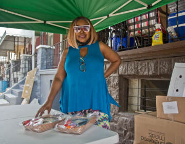 Renell Powell hands out lunches outside her home