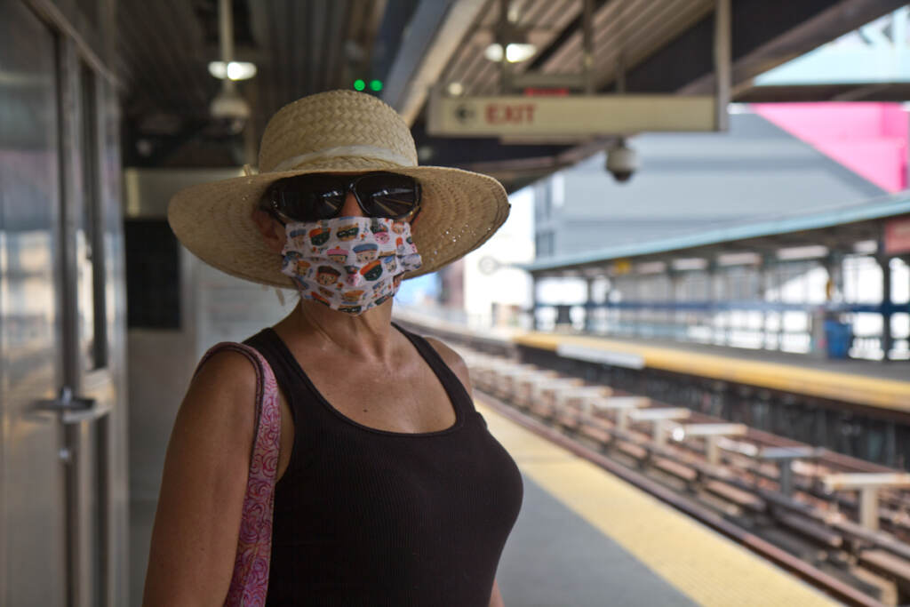 Ruth Brown stands while waiting for a Market-Frankford Line train