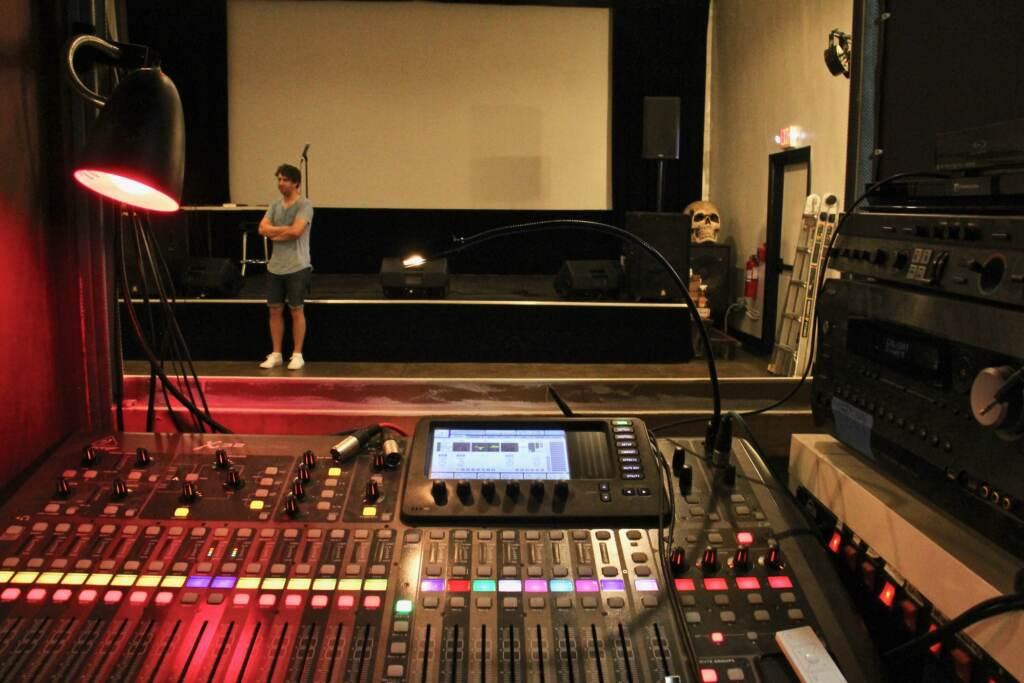 A closeup of a sound board at the PhilaMOCA