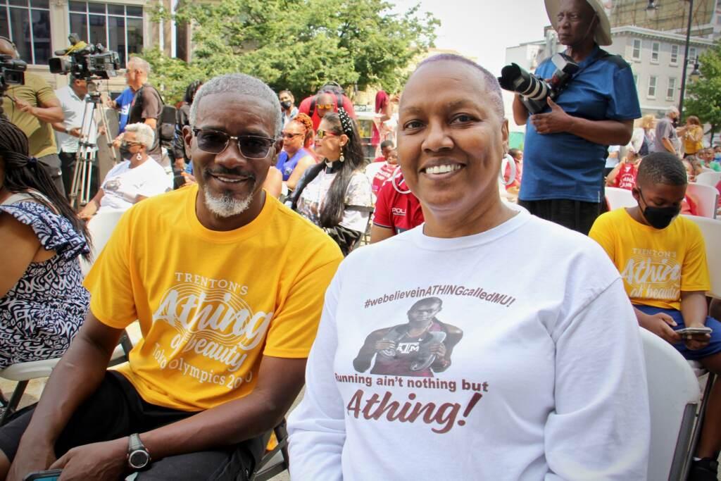 Thomas and Janet Harrington wear custom t-shirts at Trenton City Hall