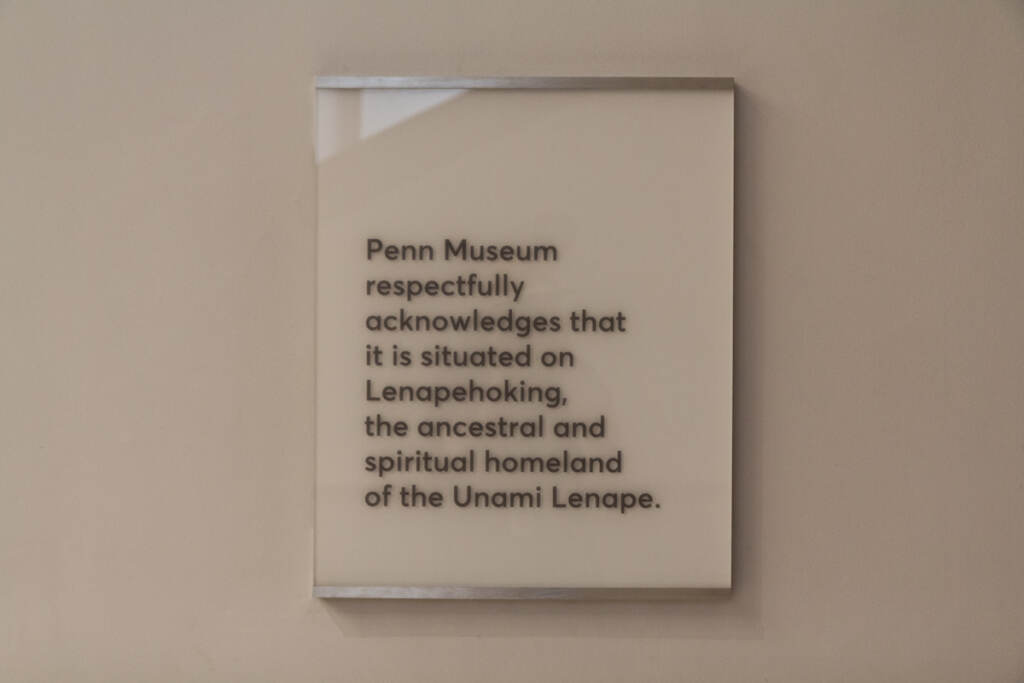 A placard posted near the entrance of the Penn Museum