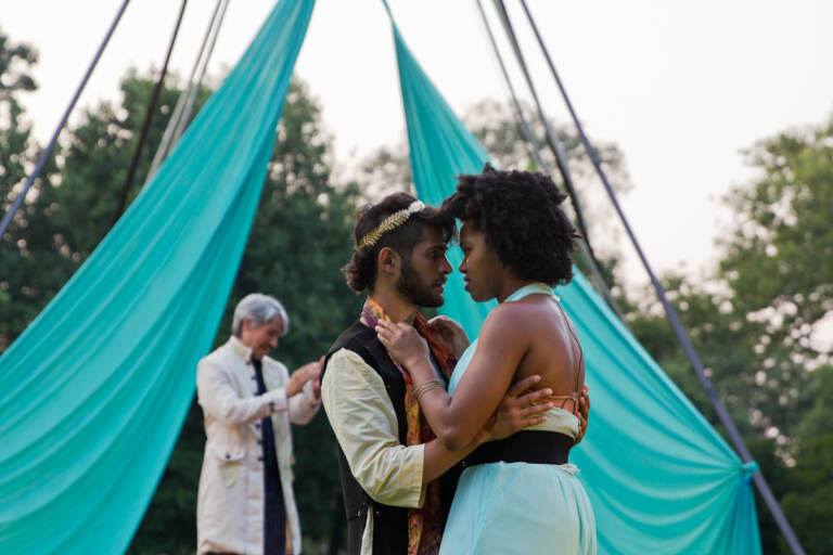 Jo Vito Ramírez as Young Pericles (left) and Brittany Onukwugha as Young Thaisa (right)