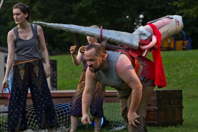 A Shakespeare in Clark Park production features the ensemble using puppets and circus arts