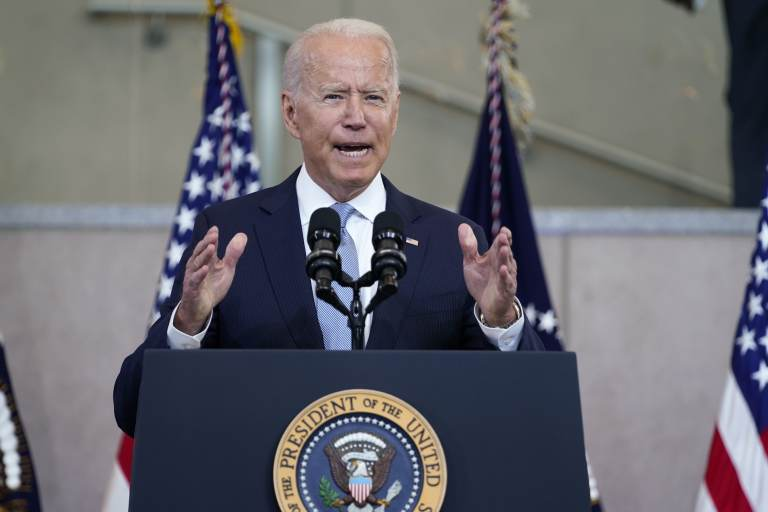 President Joe Biden delivers a speech. (AP Photo/Evan Vucci)