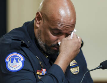 U.S. Capitol Police officer Harry Dunn becomes emotional as he testifies before the House Select Committee investigating the January 6 attack on the U.S. Capitol on July 27, 2021 at the Canon House Office Building in Washington, DC. (Photo by Oliver Contreras for The New York Times)