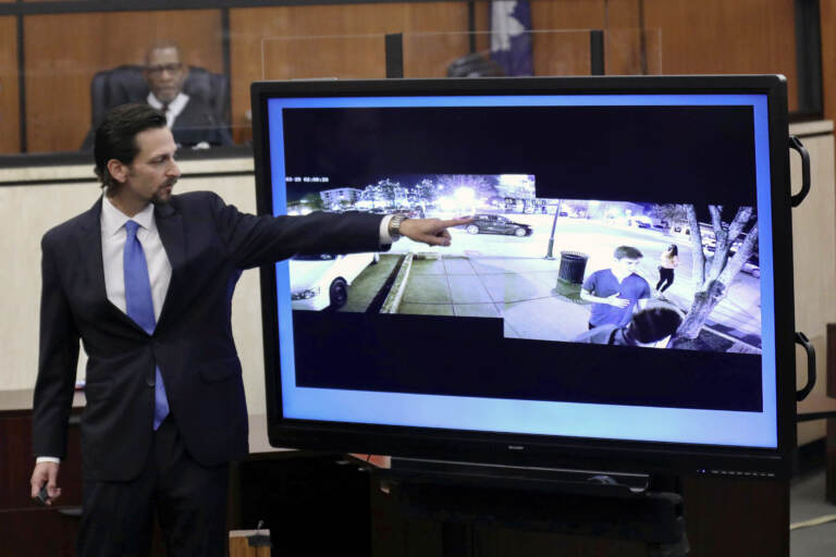 Prosecutor Dan Goldberg points to defendant Nathaniel Rowland's car circling the block as Samantha Josephson waits for an Uber while delivering closing arguments during Rowland's trial, Tuesday, July 27, 2021, in Richland County Circuit Court in Columbia, S.C. Rowland was convicted Tuesday for the 2019 abduction and murder of the 21-year-old college student, who mistook his car for her Uber ride. (Tracy Glantz/The State via AP, Pool)