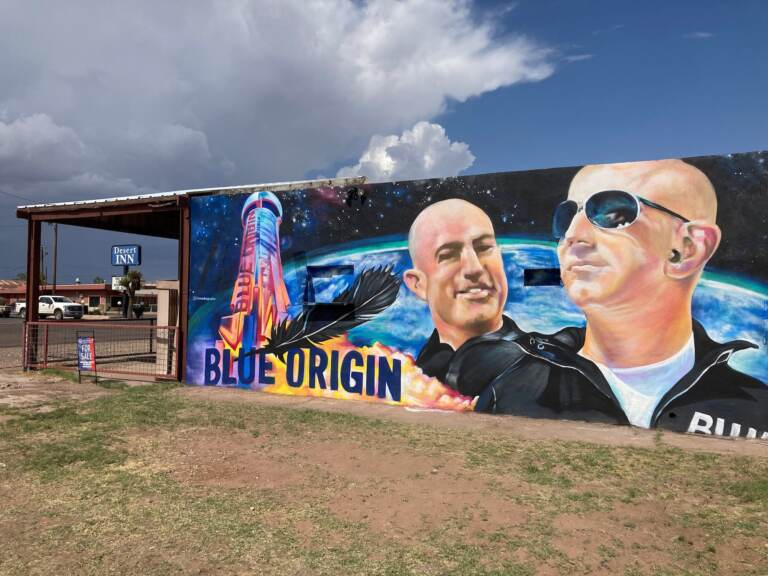 The side of a building in Van Horn, Texas, is adorned with a mural of Blue Origin founder Jeff Bezos