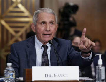 Dr. Anthony Fauci gestures while speaking before the Senate Health, Education, Labor, and Pensions Committee