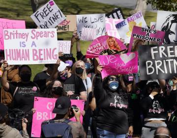 Britney Spears fans hold signs outside a court hearing